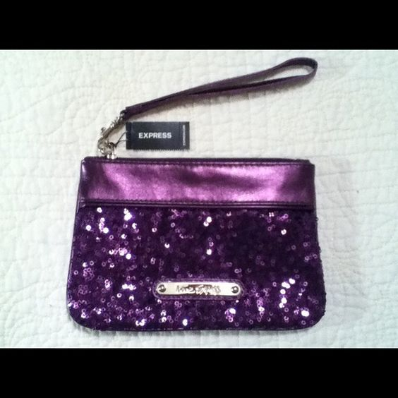 EXPRESS Wristlet NWT Pretty Purple sequin Wristlet from Express. New With Tags. Smoke Free Home.  Wristlet has a satin interior and is approximately 8 inches wide and 6 inches tall. Express Bags Clutches & Wristlets