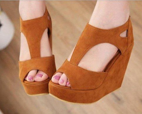 New fashion sexy dress brown wedge shoes women&39s high heels sandal