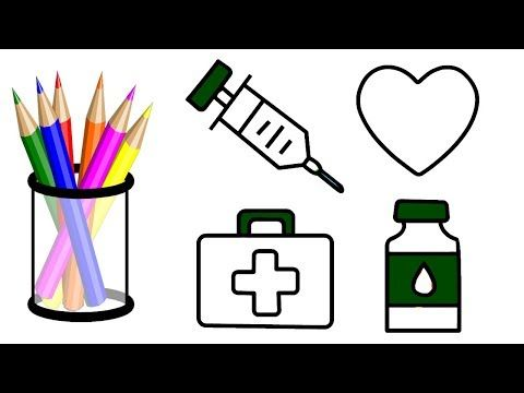 How To Draw First Aid Box Items First Aid Box Items Coloring Book For First  Aid Box Items, Baby Coloring Pages, Coloring Books