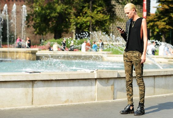 Camouflage, Balenciaga boots. Street Style  from Milan Fashion Week at the Spring Summer 2013 shows.