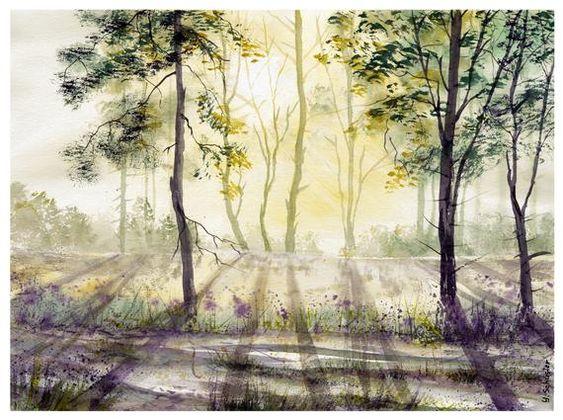 Original Watercolor Lumiere Du Soleil Doree Art Original