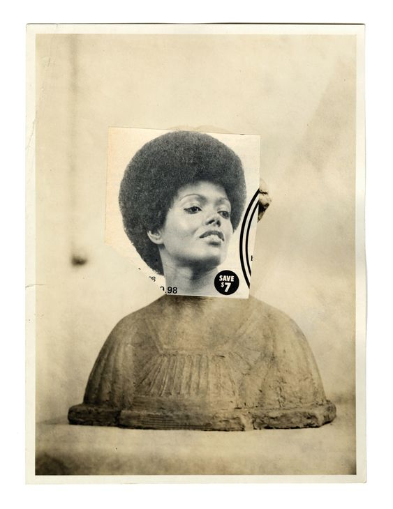 LORNA SIMPSON, COMMEMORATIVE BUST, 2016. FOUND PHOTOGRAPH AND COLLAGE ON PAPER,