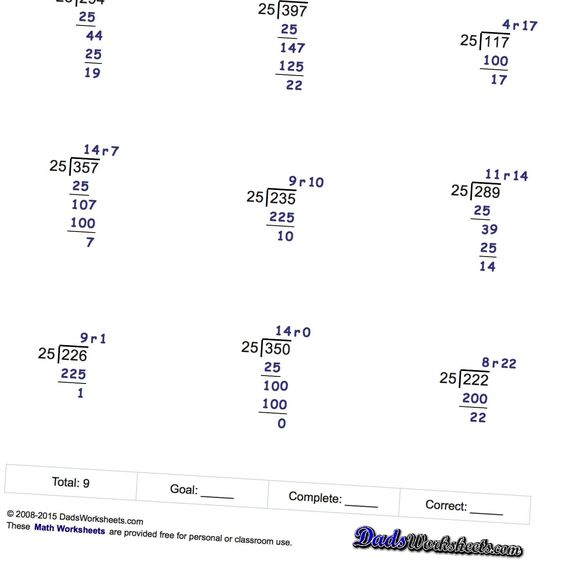 math worksheet : free printable long division worksheets without remainders  : Long Division Worksheets Without Remainders