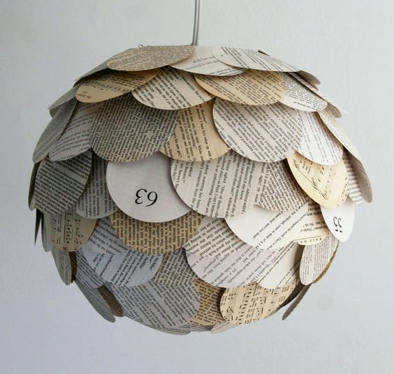 Artichoke Mixed Book Page Lantern by Allison Patrick: Created by applying circular pieces from assorted paperback books to a round paper lantern. #Lighting #Lantern #Paper_Lantern #Book_Page #AllisonPatrick