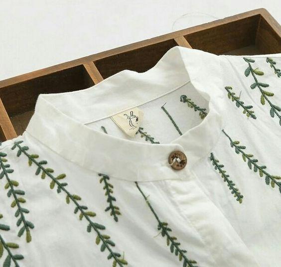 Folhas em bordado