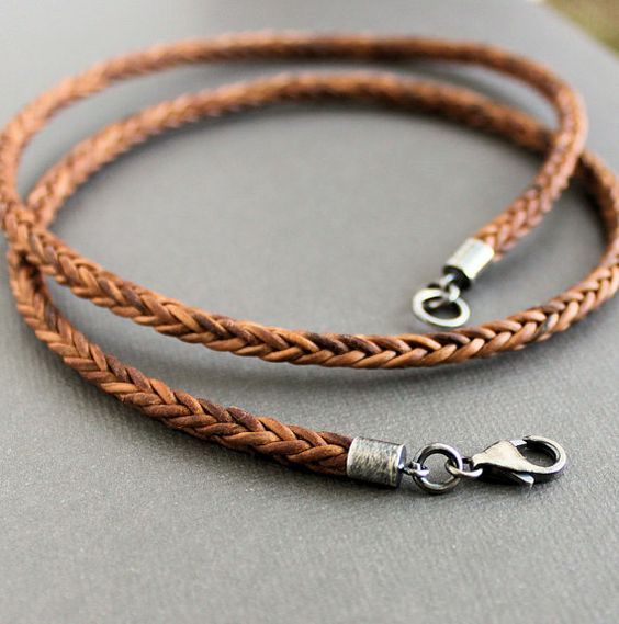 Jewelry Mens Womens Leather Necklace Braided Rope Chain Necklace with Stainless Steel Clasp, Black,4mm, $ 1 5 out of 5 stars 1. Molyveva. Thor Hammer Necklace Viking Norse Pendant Necklace Men Braided Leather Cord Rope Necklace Chain $ 5 Mealguet Jewelry.