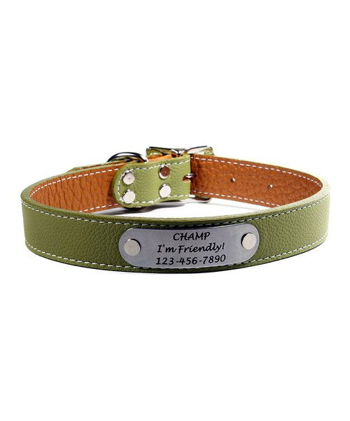 Look at this Olive Green Italian Leather Personalized Dog Collar on #zulily today!