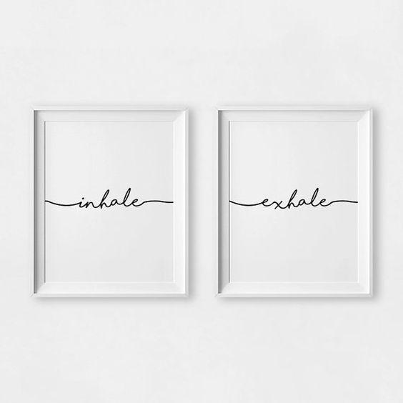 Inhale Exhale Print, Yoga Wall Art, Wall Prints, Inhale Exhale, Pilates Art…