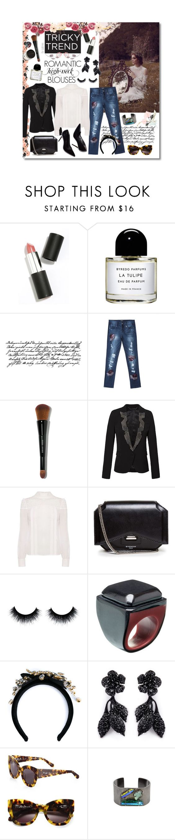 """Romantic High-Neck Blouses"" by gabree ❤ liked on Polyvore featuring Mode, Sigma Beauty, Byredo, Bebe, Bobbi Brown Cosmetics, Karen Millen, Givenchy, Marni, Dolce&Gabbana und Valentino"