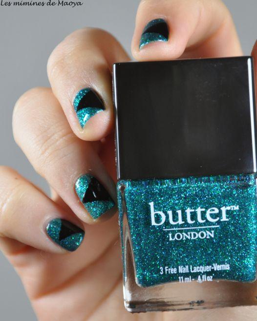 Green and black nail art with butter london nail polish