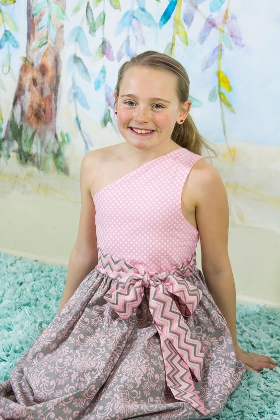 Girls Pink and Grey One shoulder Dress Easter by Mypreciousthreads, $30.00