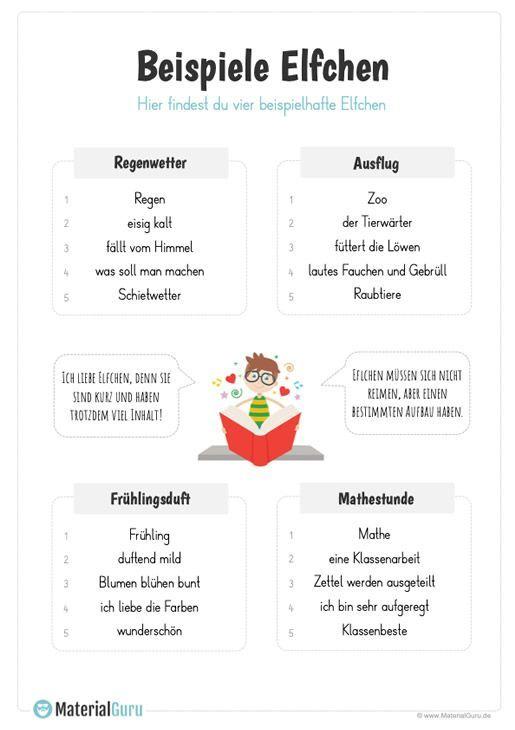 Beispiele Elfchen In 2020 Elfchen Lehramt Grundschule Deutsch Lernen