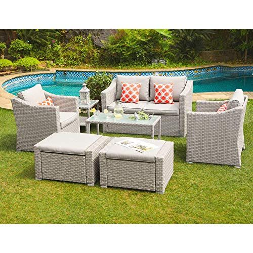 Cosiest 7 Piece Outdoor Furniture Conversation Set Warm Gray Wicker Sectional Sofa Patio Furniture Conversation Sets Outdoor Lounge Set Outdoor Furniture Sets