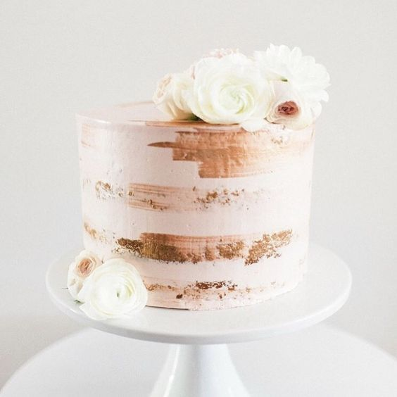 Buttercream Cake With Streaks Of Gold Rose Gold Paint To Look Like