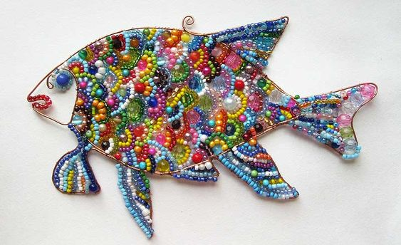 fish made from wire and beads DIY: