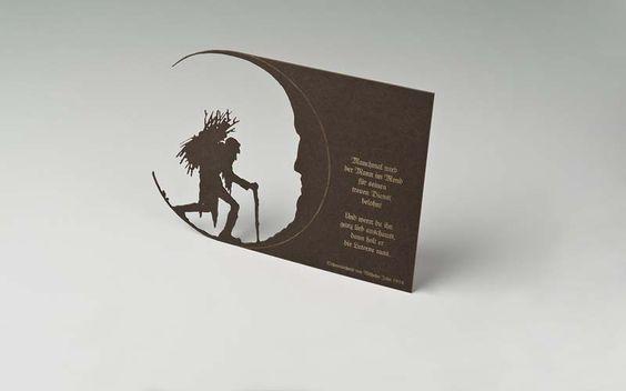"""""""Der Mann im Mond"""" Scherenschnitt von Wilhelm John, ca. 1920, bearbeitet, Lasergeschnitten und -graviert by www.deroberhammer..., Zitat Songtext von """"Die Prinzen"""""""