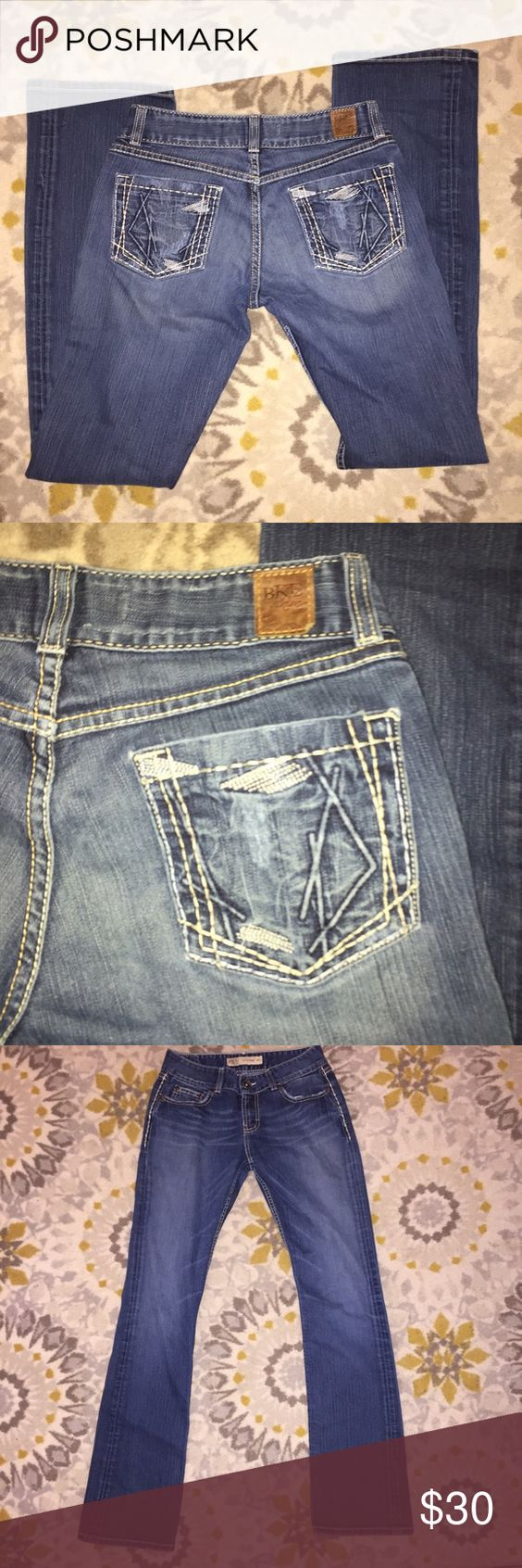 """BKE The Buckle Culture Stretch Jeans Sz 29 x 35 Amazing condition! No rips or stains. Distressed. Very little wear on hem. Stitched access pockets. Can be hemmed to the perfect inseam for you!  Features: 5 pockets, zip fly distressed designing From a nonsmoking home.  Measurements: Waist: 14.5"""" Hips: 16.5"""" Front rise: 8"""" Inseam: 35"""" BKE Jeans Boot Cut"""