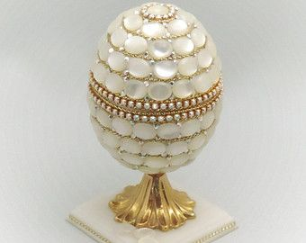 Natural Mother of Pearl Covered Jewelry Box Pearl Wedding Ring Jewel Box Display Box Egg Ornament Faberge Style Decorated Egg Art