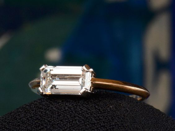 EB East-West 1.33ct Emerald Cut Diamond Engagement Ring
