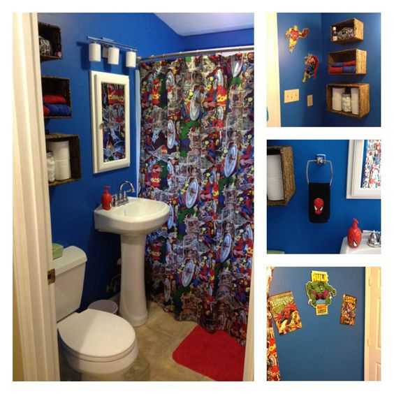 Retro marvel bathroom mom made the shower curtain for Spiderman bathroom ideas