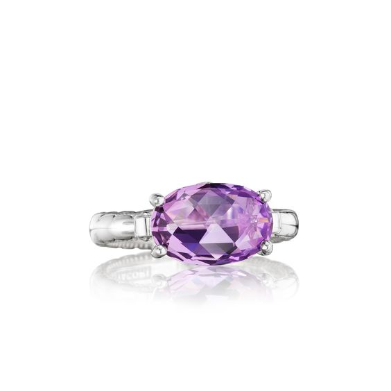 Tacori style no. SR13901. Oh-valicious! A unique oval-shaped amethyst center stone creates a truly exceptional Tacori design.  Multifaceted and sparkling from every angle, this chic ring creates a truly timeless and classic beauty.