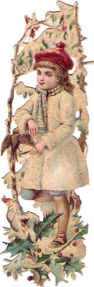 Oblaten Glanzbild scrap die cut chromo  Winter Kind child Schnee snow bird MICA