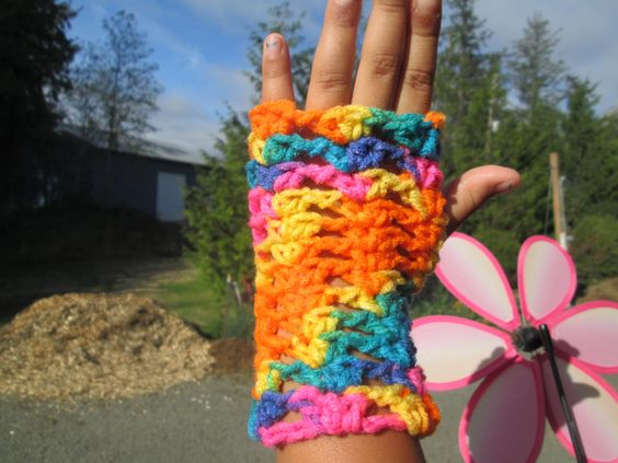 Girls Crayon Crocheted Acrylic Fingerless Gloves by SuzannesStitches, Girls…