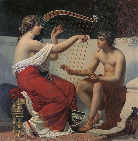 Calliope Teaching Orpheus to play an instrument, his humble beginnings has a musician and how it all began.  Calliope teaches music to the young Orpheus. 1862. Alexandre Auguste Hirsch. French. 1833-1912. oil on canvas.: