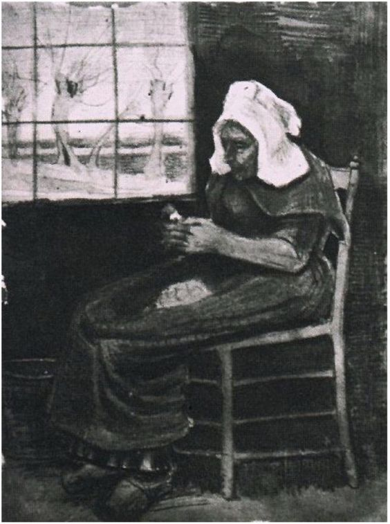 Woman Peeling Potatoes near a Window by Vincent Van Gogh Watercolor, Black and coloured chalk, watercolour  Etten: September, 1881