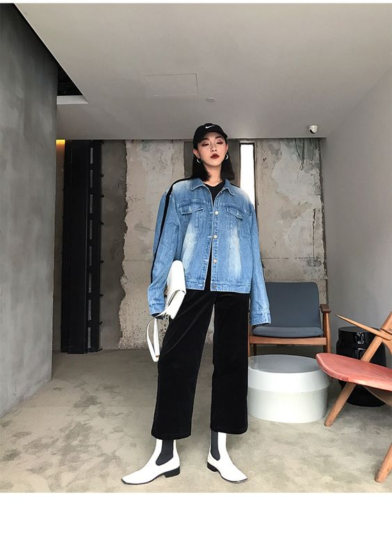FFSTUDIO定制 秋装女2017新款时髦织带拼接磨白长袖宽松牛仔外套-淘宝网全球站