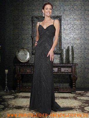 Perlen Schwarzes ausgefallenes Abendkleid aus Chiffon