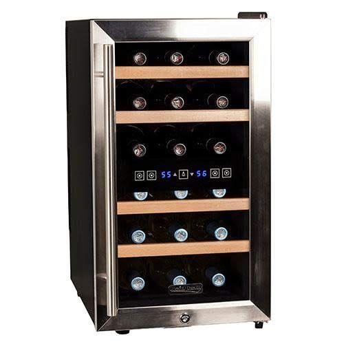 Firebird 12 Bottles Dual Zone Reversible Doors Stainless Steel Finish Wooden Shelves Freestanding Electric Wine Thermoelectric Wine Cooler Wooden Shelves Wine