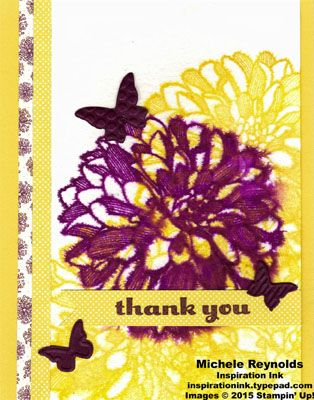"""Handmade thank you card using Stampin' Up! products - Regarding Dahlias Stamp Set, Watercolor Paper, Park Lane Designer Series Paper, 1"""" Square Punch, and Beautiful Wings Embosslits.  By Michele Reynolds, Inspiration Ink, http://inspirationink.typepad.com/inspiration-ink/2015/05/goodbyes-are-hard-blog-tour.html.  #stampinup #inspirationink #regardingdahlias"""