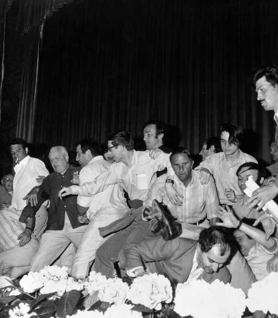 Godard loses his glasses and Truffaut takes a spill during the chaos of the abortive screening of Peppermint Frappé at the 1968 Cannes Film Festival.