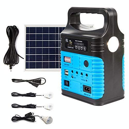 Upeor Solar Generator Lighting System Portable Solar Power Generator Kit For Emergency Power Supply Home Outdoor Camping Including Mp3 Fm Radio Solar Panel 3 Solar Generator Solar Power Inverter Portable Solar Generator