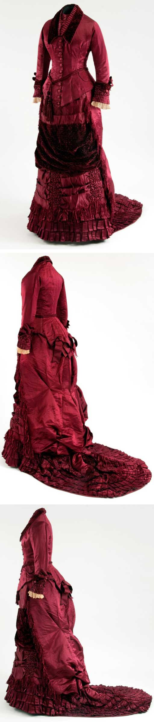 Natural form period. Dress, ca. 1878-1883. Silk satin and voided velvet. McCord Museum, Montreal