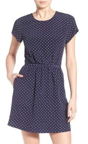 darling dotted silk fit and flare dress