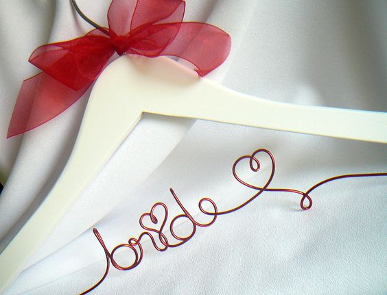 Valentine's Day Wedding Dress Hanger for Bride, Red Script with Ribbon.