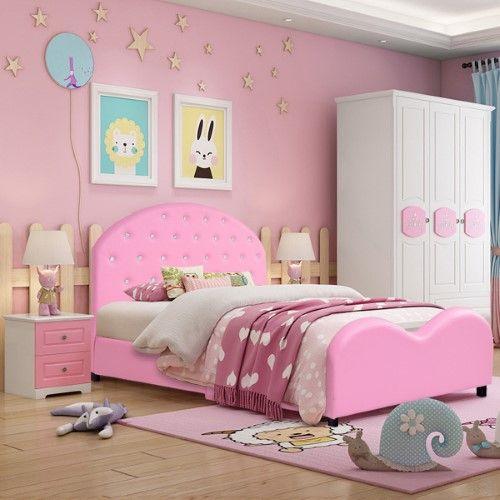 Costway Kids Children Pu Upholstered Platform Wooden Princess Bed Bedroom Furniture Pink Wooden Bedroom Pink Furniture Upholstered Platform Bed