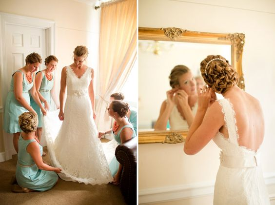 Stunning coral and teal wedding details from Katelyn James Photography