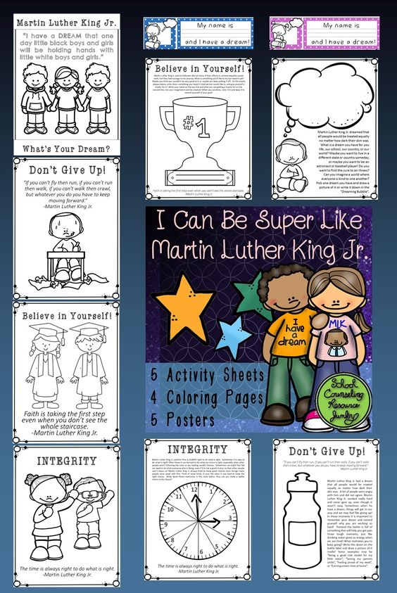 MLK Jr. Day Jan. 16th 2017 5 Activities; 5 Posters; 4 Coloring Pages (follow the link for a full preview). https://www.teacherspayteachers.com/Product/Martin-Luther-King-Jr-Activity-Worksheets-Coloring-Pages-Posters-with-Quotes-2946657: