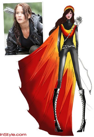 Fashion Desingners Sketch Katniss's Fire Dress! This is her opening ceremonies costume to the HUNGER GAMES! In Style Magazine.