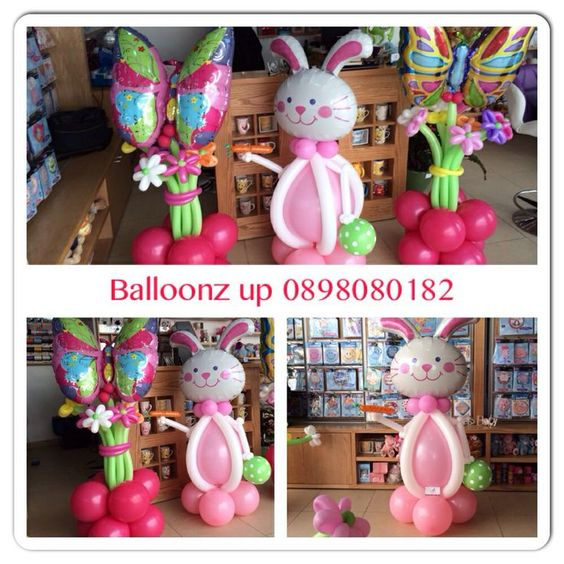 Easter balloon sculptures and decor ideas.