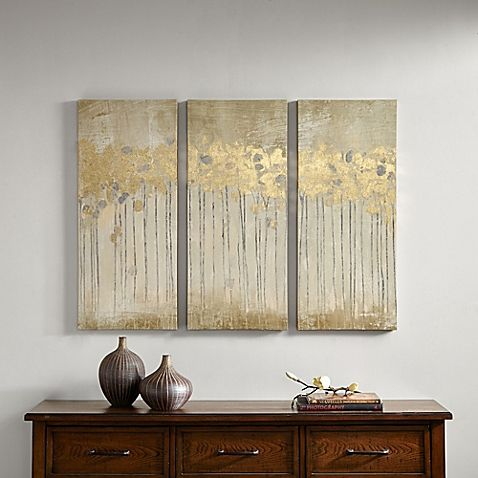 Madison Park Sandy Forest Gel Coat Canvas With Gold Foil Embellishment Wall Art In Taupe Set Of 3 Canvas Wall Art Set Canvas Wall Art Canvas Art Prints