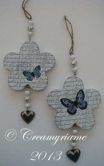 Crea Myriame: Houten bloemen pimpen / Wooden flowers