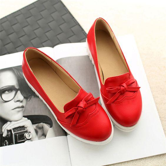 Tamaño grande 34-43 pisos plataforma mujeres los zapatos de estilo corea pajaritas 3 sólido Slip on punta redonda conciso Ladies pisos