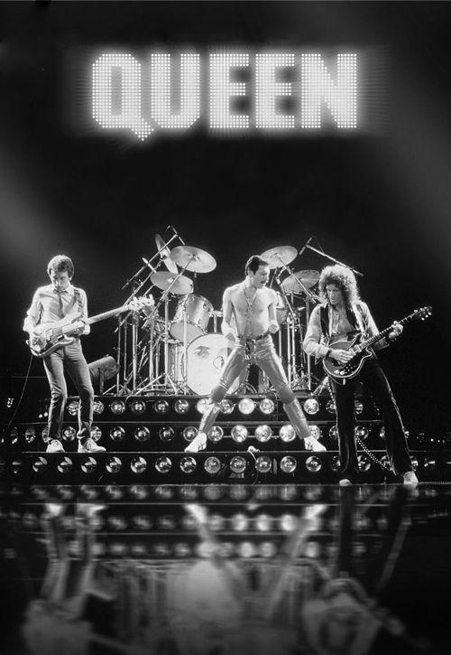 Banda Queen en una fotografía en blanco y negro.XD