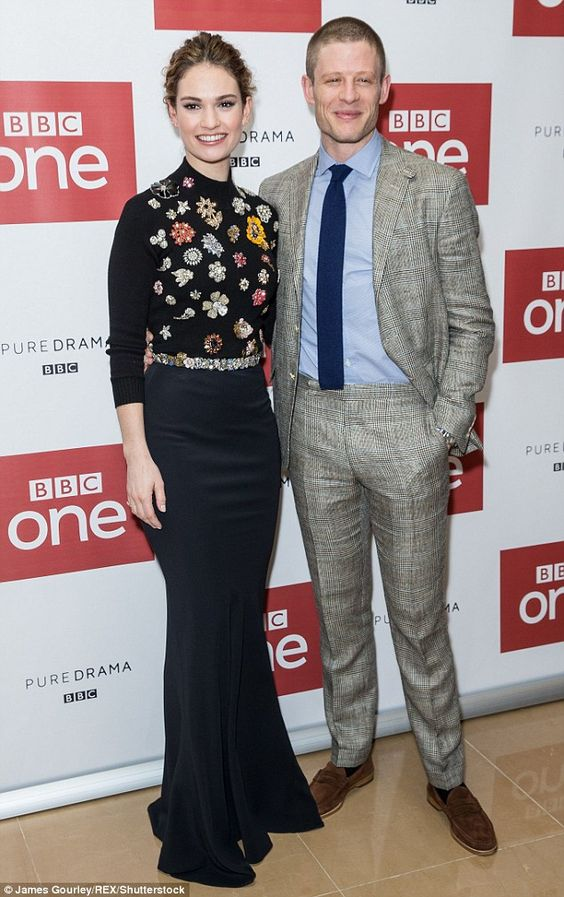 Joining forces: Lily and her handsome co-star James Norton struck a pose on the red carpet...