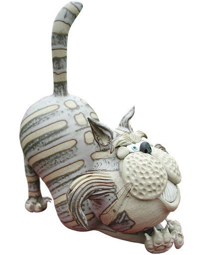 Attitude Cat - crouching | hand-made pottery from Muggins Pottery in Leicestershire - wedding gifts, birthday presents, christening presents and anniversary gifts.
