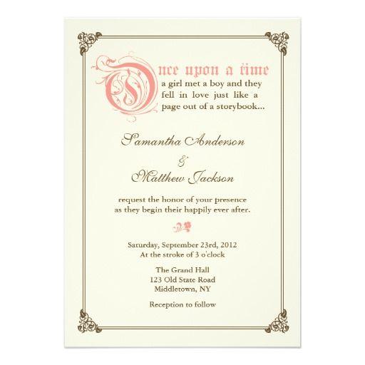 Storybook Fairytale Wedding Invitation Pink Invitations Weddings And